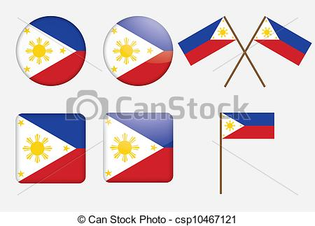 450x323 Set Of Badges With Flag Of Philippines Vector Illustration.