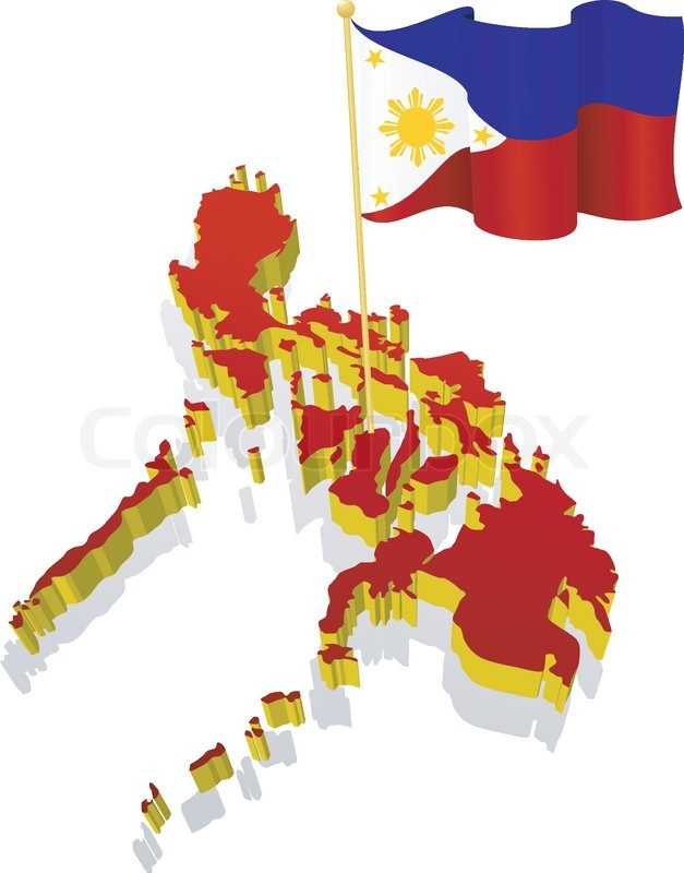 627x800 Three Dimensional Image Map Of Philippines With The National Flag