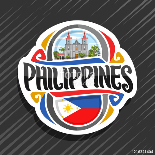500x500 Vector Logo For Philippines Country, Fridge Magnet With Filipino