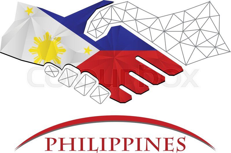 799x530 Handshake Logo Made From The Flag Of Philippines. Stock Vector