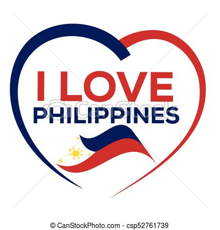 450x470 I Love Philippines With Outline Of Heart And Flag Of Philippines