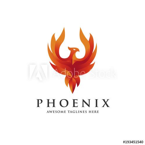 500x500 Luxury Phoenix Logo Concept, Best Phoenix Bird Logo Design