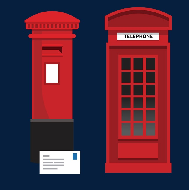 650x654 Combine Vector Phone Booth And Mailbox, Phone Vector, Red Mailbox