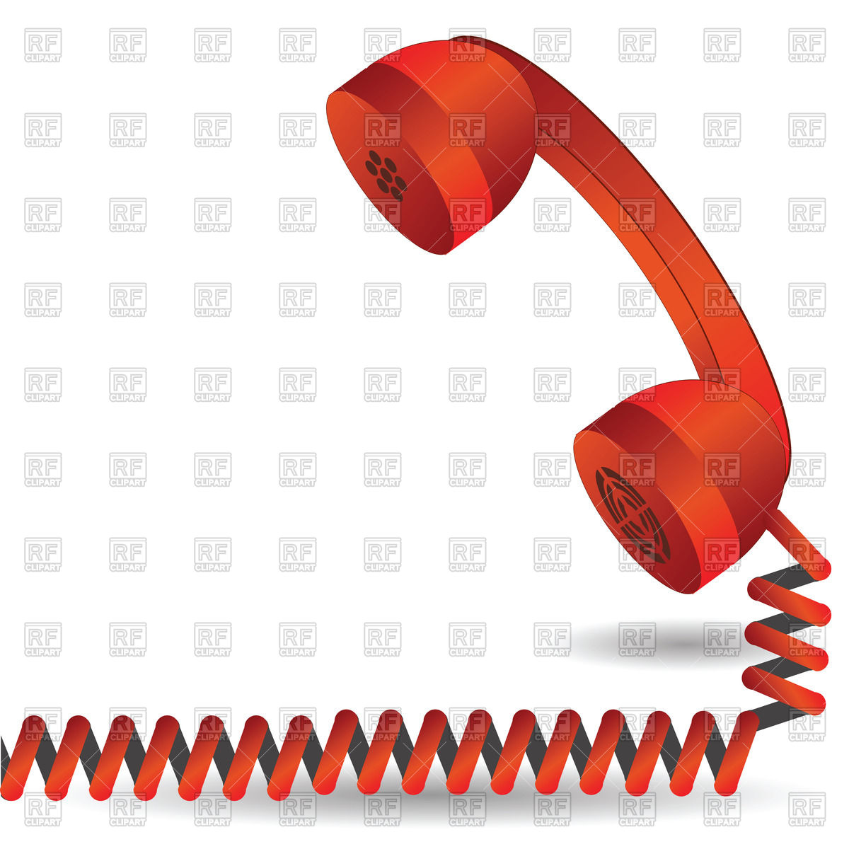 1200x1200 Red Telephone Handset With Spiral Cord Vector Image Vector