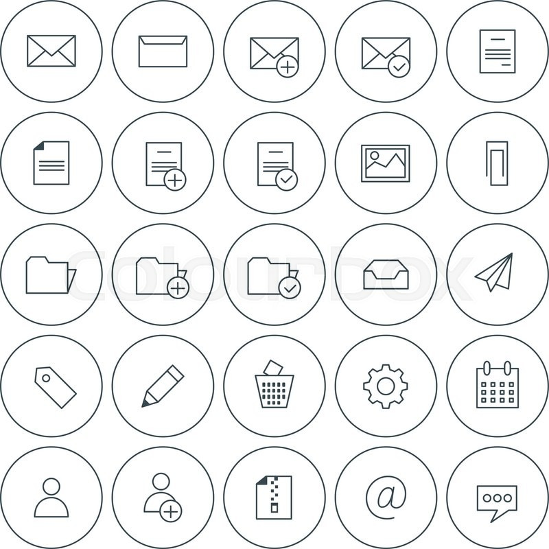 800x800 Set Of Vector Thin Line Email Icons. Message, Folders, Document