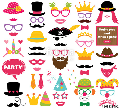 500x455 Fun Party Hats, Vector Photo Booth Props Stock Image And Royalty