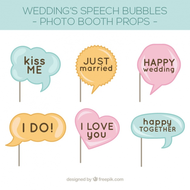 626x626 Pack Of Speech Bubbles For Wedding Photo Booth Vector Free Download