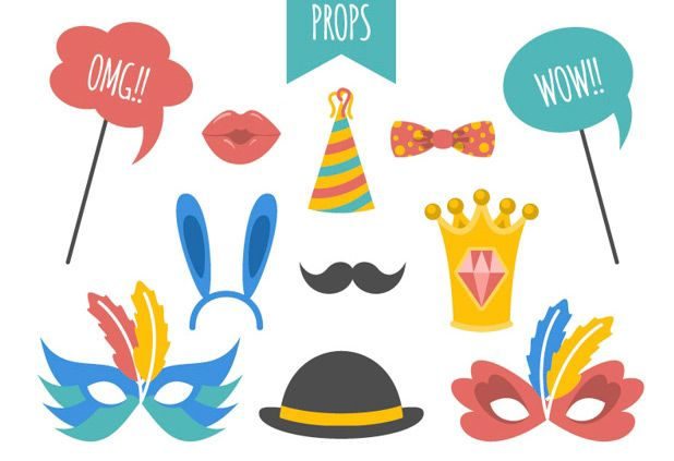 618x423 Various Party Elements For Photo Booth Vector Free Download