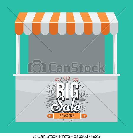 450x470 Vector Store Booth With Awning And Big Sale. . Store Vector