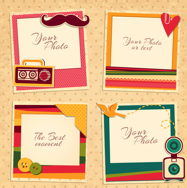 599x600 Cute Photo Frame Vector Set 05 Free Download