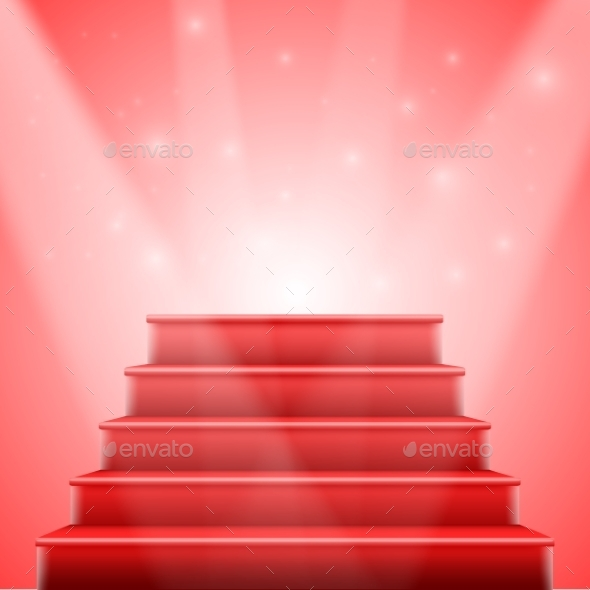 590x590 Photorealistic Vector Isolated Red Stairs To Stage By Razzers
