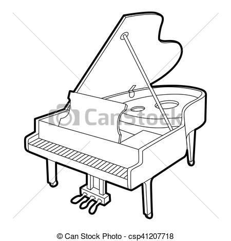 450x470 Grand Piano Icon, Outline Isometric Style. Grand Piano Icon