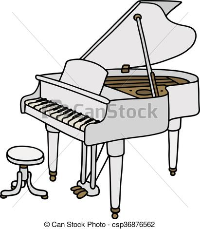411x470 White Grand Piano. Hand Drawing Of A Classic White Open Grand Piano.