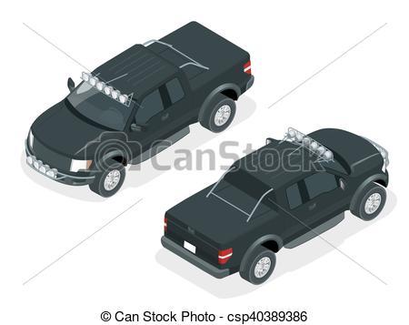 450x357 Isometric Pickup Truck Vector Illustration. Generic Pickup