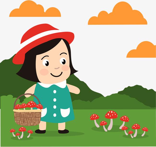 650x612 Children Picking Mushrooms, Children Vector, Children, Pick Png