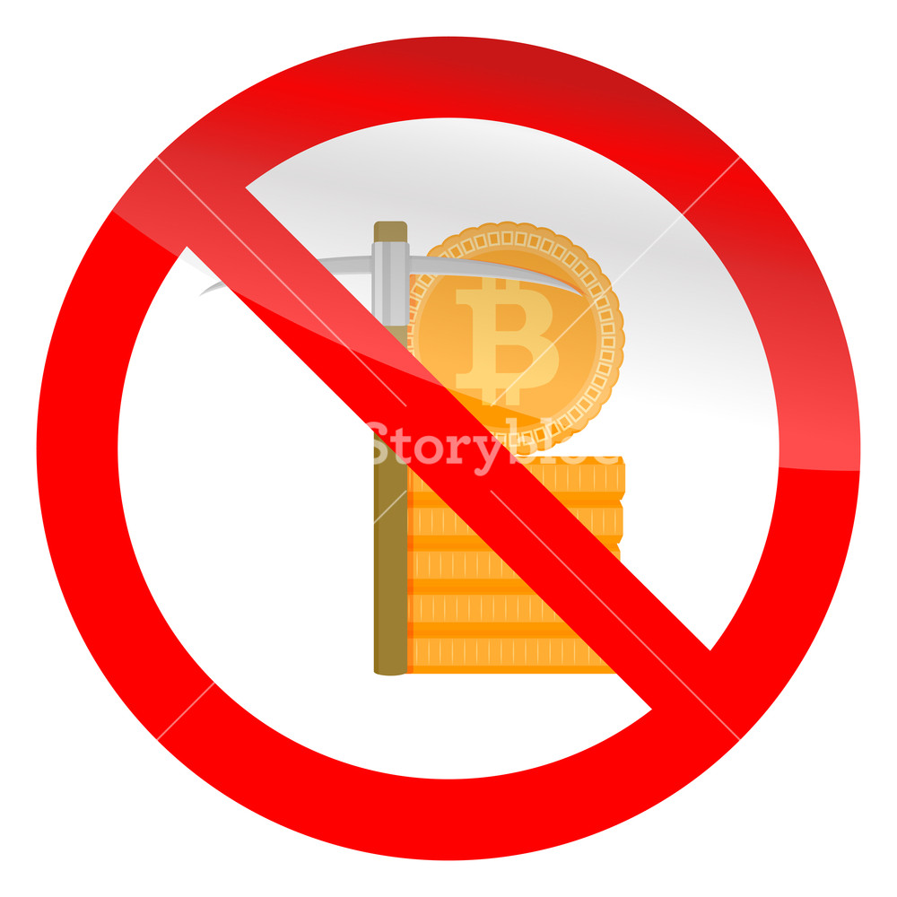1000x1000 Stop Mining Icon. Ban Mine, Forbidden Btc, No Pick Axe. Vector