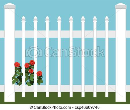450x380 Flowers In Fence. Flowers Are Growing Close To Picket Fence.