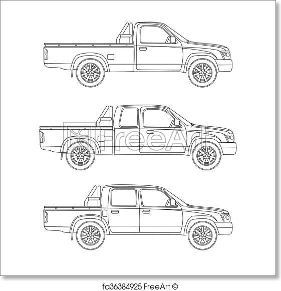 561x581 Free Art Print Of Car Pickup Truck Vector Illustration. Pickup