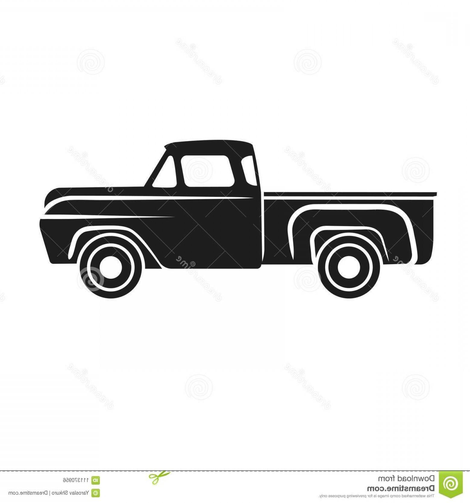 1560x1668 Old Retro Pickup Truck Vector Illustration Old Retro Pickup Truck