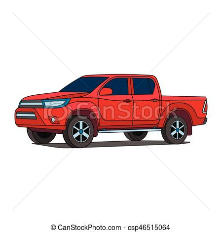 450x470 Red Pickup Truck Vector Illustration. Red Pickup Truck Car