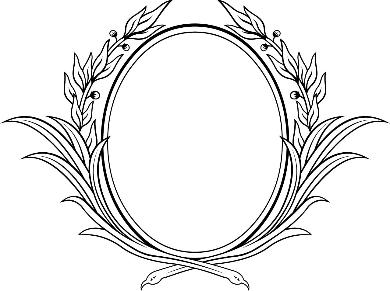 1280x957 Decorative Oval Floral Vector Frame Free Download