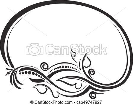 450x354 Decorative Floral Oval Black Vector Frame. Vector Illustration.
