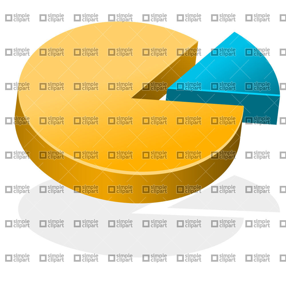 1000x1000 3d Pie Chart With Small Slice Vector Image