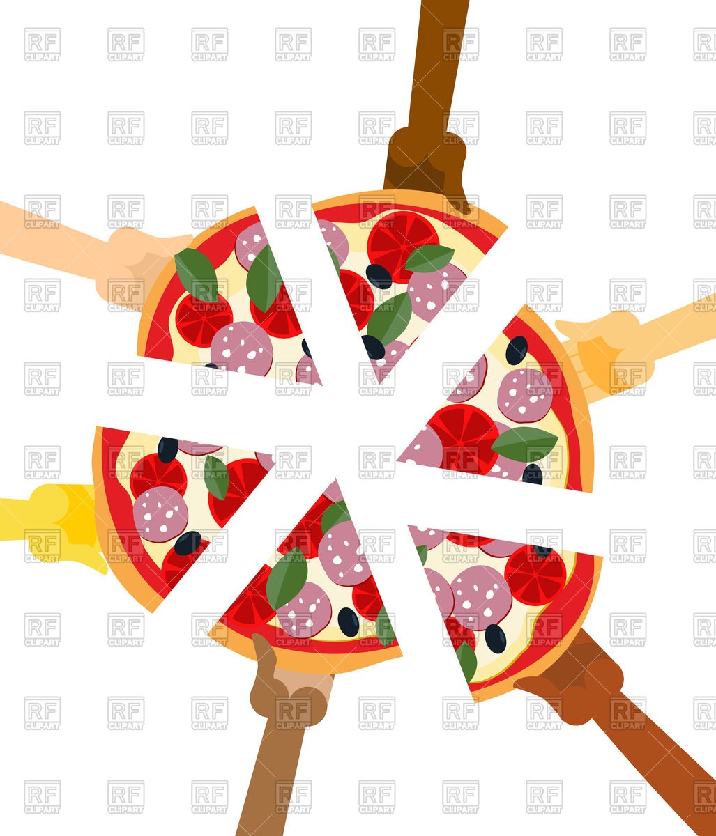 1027x1200 People Eating Pizza. Hands Holding Slice Of Pie. Vector Image