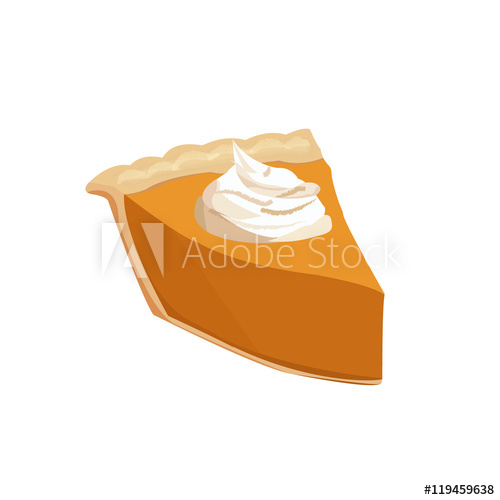 500x500 Pumpkin Pie Slice. Vector Illustration.