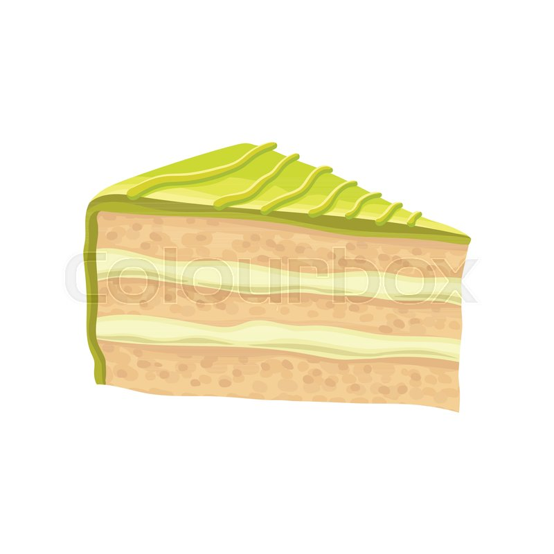 800x800 Slice Of Layered Cake With Green Butter Cream. Sweet And Tasty Pie