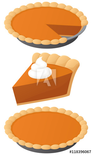 300x500 Vector Illustration Of A Pumpkin Pie A Whole Pie, A Slice, And A