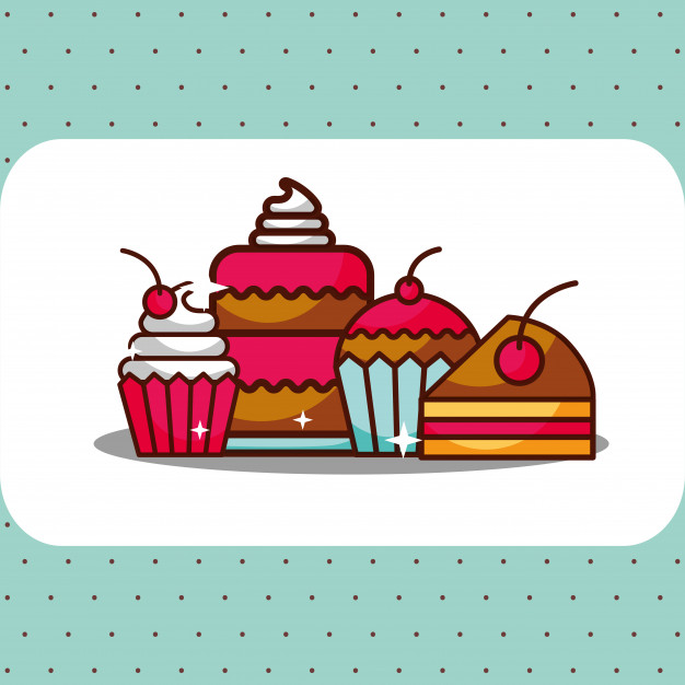 626x626 Bakery Dessert Cake Cupcakes Pie And Slice With Cherries Vector