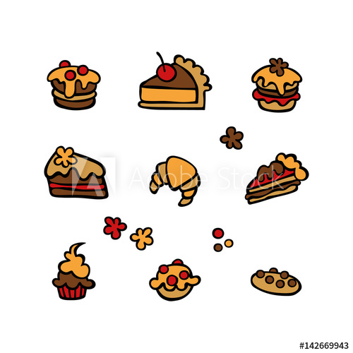 500x500 Baking Cupcake, Muffin, Pie Slice, Cookies, Cake. Isolated Vector