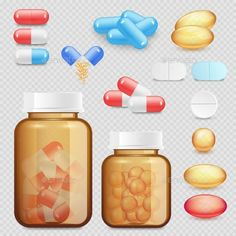 236x236 Pill Bottle With Various Pills And Capsules Pill Bottles, Vector