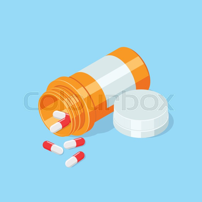 800x800 Pill Bottle. Medical Capsules Container .isometric Vector