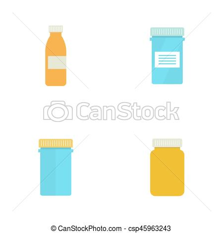 450x470 Set Pill Bottle Isolated Icon On White Background. Pill Bottle For