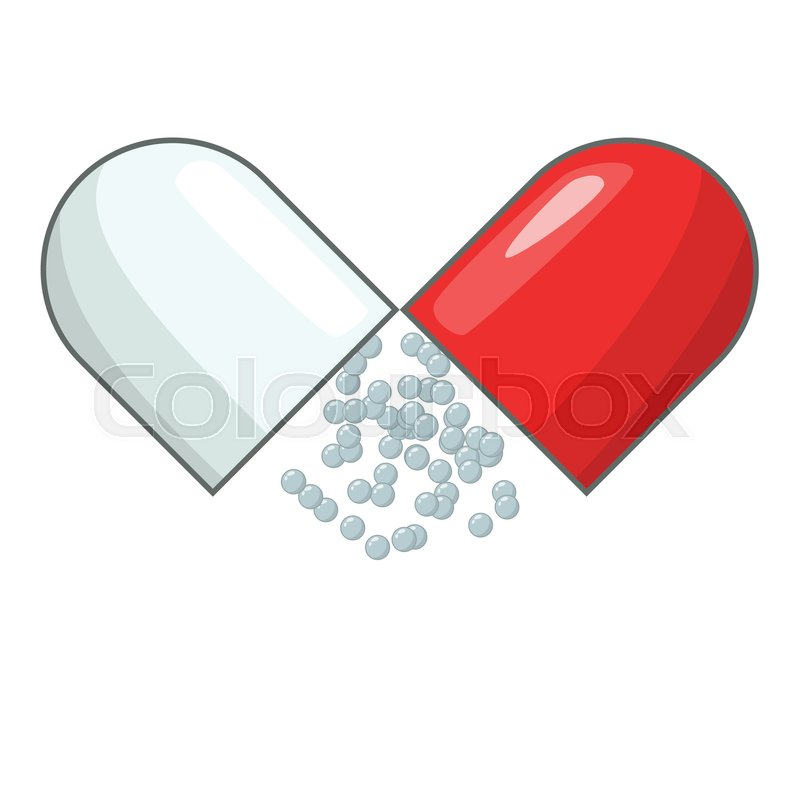 800x800 Open Capsule Pill Icon. Cartoon Illustration Of Open Capsule Pill