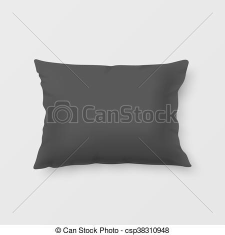 450x470 Realistic Vector Pillow. Close Up Realistic Black Pillow. Vector