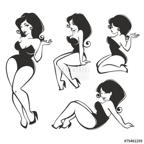 500x499 Vector Collection Of Pin Up Girls Stock Image And Royalty Free