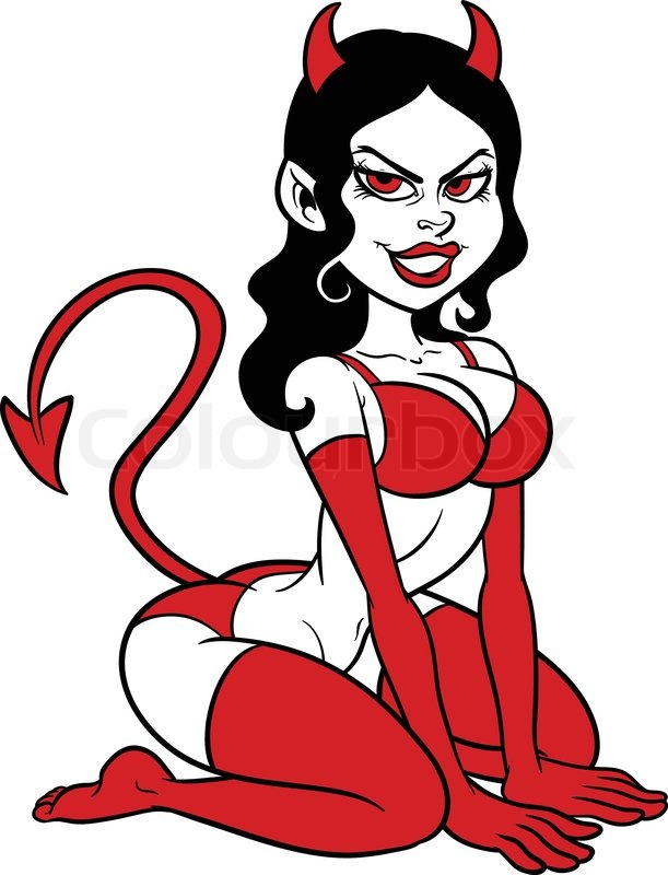 611x800 Devil Woman Pin Up. Vector Clip Art Illustration With Simple