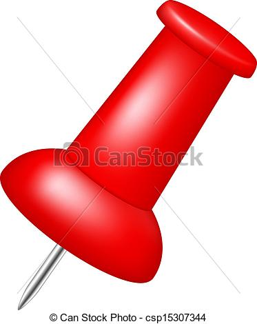 373x470 Red Push Pin. Push Pin In Red Design On White Background.