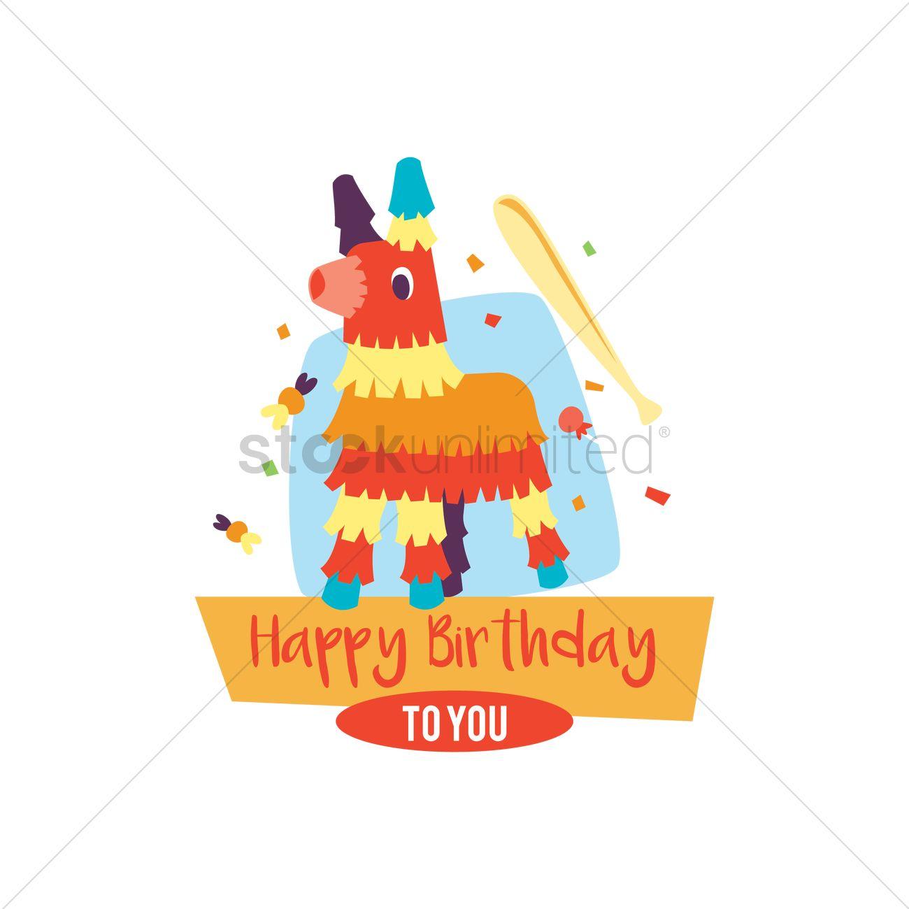 1300x1300 Happy Birthday Card With Pinata Vector Image