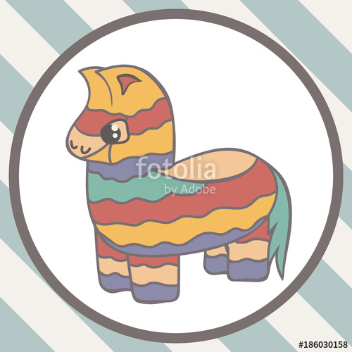 500x500 Pinata Vector Image Isolated On White Background. Bright Striped