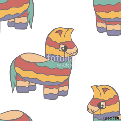 500x500 Pinata Vector Seamless Pattern Isolated On White Background. Cute