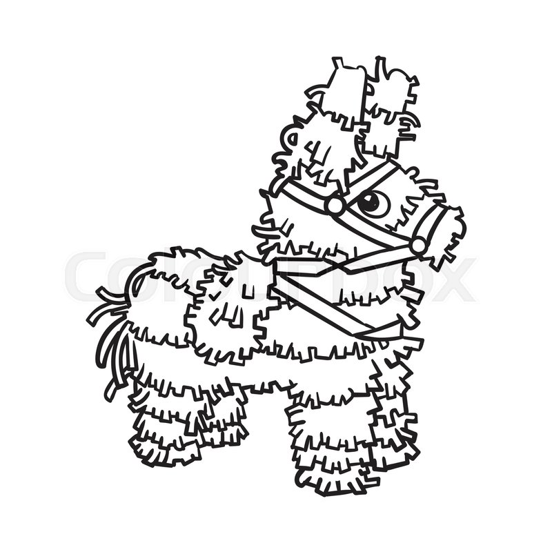 800x800 Traditional Mexican Brightly Pinata, Black And White Sketch Style