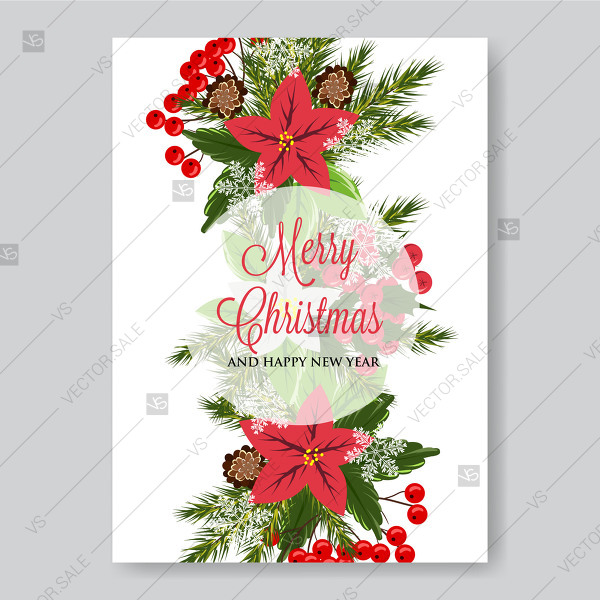 600x600 Red Poinsettia Invitation Painted Vector Template Fir Pine Branch