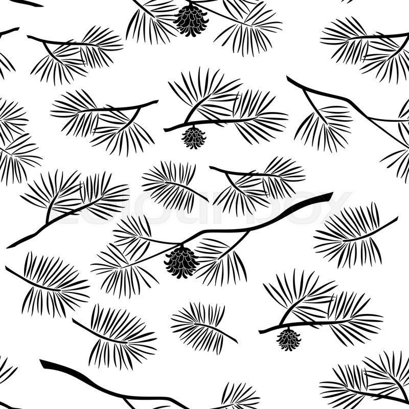800x800 Seamless Pattern, Black Silhouette Pine Branches With Cones And