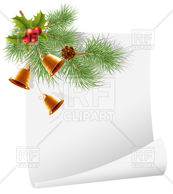 356x400 Blank Christmas Greetings Card With Bells And Pine Branch Vector
