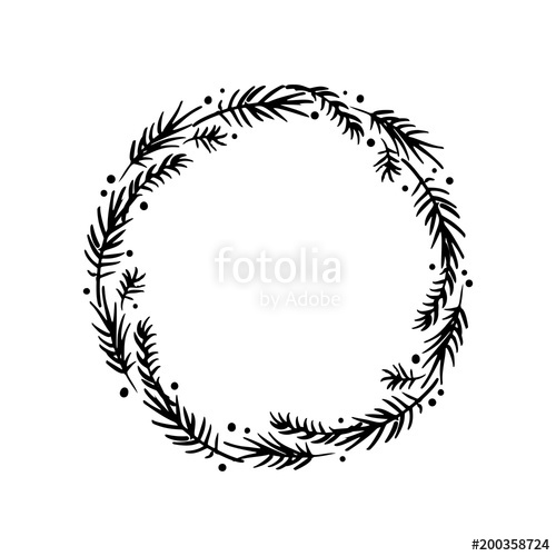 500x500 Floral Rustic Pine Branch Wreath For Wedding Invitation Template