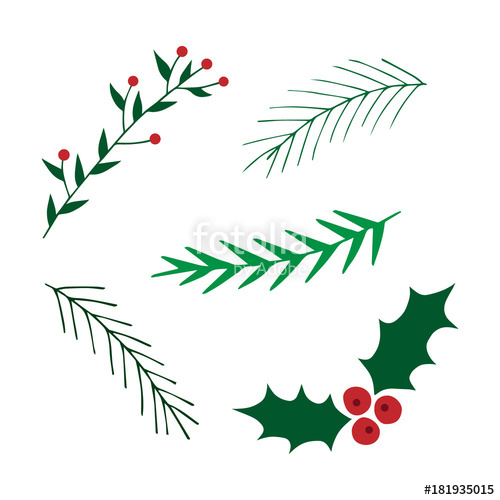 500x500 Hand Drawn Christmas Set. Mistletoe And Leavy Branches Vector